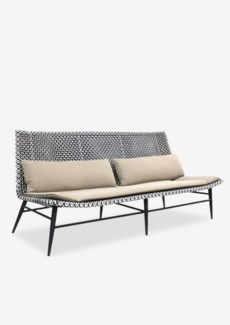 "Outdoor Garret 72"" Sofa With Two Tone Synthetic Rattan Weave And Taupe Sunbrella Fabric (72X30.5X33)"