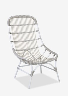 St. John outdoor high back chair (powdercoated frame and synthetic rattan) -- white/taupe(26.75x31.