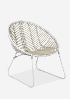 (SP) St. John outdoor round chair - white/taupe..(28x28.75x30.25)..