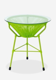 (LS) Scoop Outdoor Side Table w/ Glass Top - UV Protected Resin (19X19X23.5) - Green