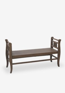 """52"""" Solid Mahogany Wood Bench with Storage -- Antique Oat(52X17X28)"""