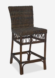 Eastport Counterstool With Natural Rattan -Espresso Finish (19x22x40)