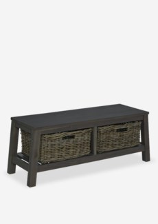 "Atwood 47"" Bench with 2 Driftwood Rattan Basket in Grey Wash Finish (47x16x18)"