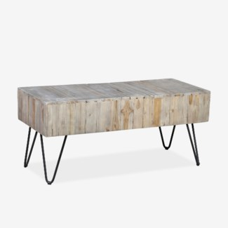 """(SP) Sycamore 39"""" Grey Wash  Bench with Angle Metal Leg (K/D) (39x16x18)"""