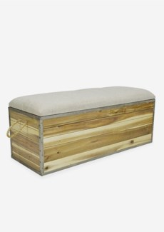 Wood trunk bench with storage and cushion top