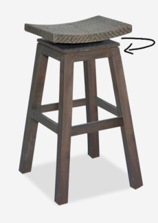 Swivel Barstool with Natural Rattan Top In Grey Wash Frame(17x17x29.5)
