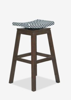 Swivel Barstool with Black/White Synthetic Wicker (17x17x29.5)