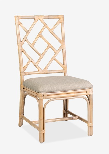 Hampton Chippendale Rattan Side Chair White Wash   Cream Taupe Cushion  ..(19X22X39)