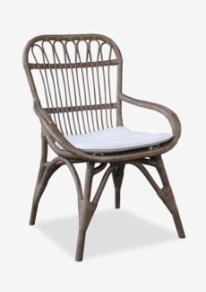 (SP) Cabello Vintage Grey Rattan Dining Chair with Cream Cushion..(25.5x27x38)..