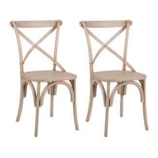 Lowry cross back dining chair with wood seat-Grey (min 2 pcs) (20X35X21)