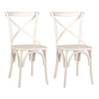 Lowry cross back dining chair with wood seat-White (min 2 pcs) (20X35X21)