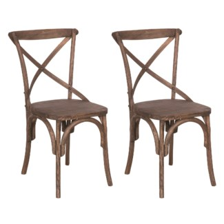 Lowry cross back dining chair with wood seat (min 2 pcs) (20X35X21)