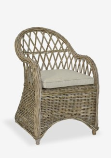 Bayside Round Back Arm Chair With An Argyle Patterned Back (23x28x35)