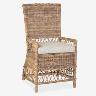 Eastport Dining Chair With Natural Grey Rattan (22x23x39)