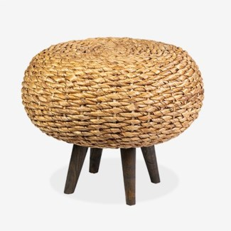 "25"" Round Natural Fiber Ottoman with Wood Legs (25x25x20"
