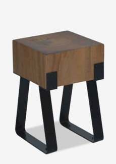 Solid Munggur Wood Stool with  iron legDimension: 12.5x12x18