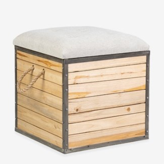 "19"" Padded Square Wooden Stool with Storage(19x19x20)"