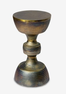 (LS) Brass Antique Finished Kobe Side Table (11x11x20)