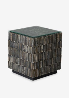Desoto Side Table with Reclaimed Teak Tiles (16.5x16.5x18.5)