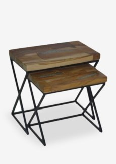 "22""H Solid suar wood top nesting set-2 side table with cross side frameDimension: Big: 24x14x22; sm"