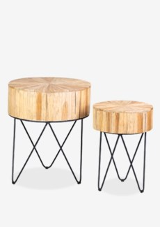 Kent sunburst top accent table set-2 with iron base