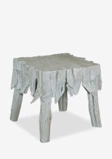 "22""H Fringe Square Antique Teakwood Side Table In White Wash (24x24x22)"