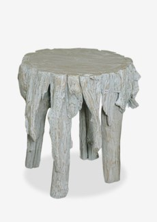 "18""H Fringe Round Antique Teakwood Stool In White Wash (17x17x18)"