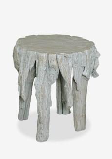 """(SP) 18""""H Fringe Round Antique Teakwood Stool In White Wash (17x17x18)"""