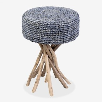 Surfside Stool With Blue Rafia Cushion (14x14x20)