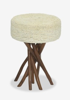 Surfside Stool With Cream Rafia Cushion (14x14x20)