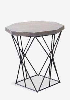 "24"" Polygon Wood Top Side Table and Metal Base (22X22X24)"