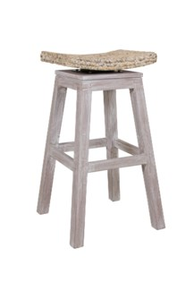 (SP) Sanibel Barstool - White Wash (17.7x17.7x29.5)