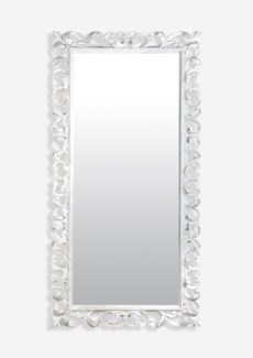 (SP) Bali White Wooden Mirror (79X2.4X39)