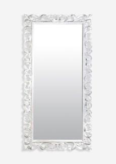 (LS) Bali White Wooden Mirror (79X2.4X39)