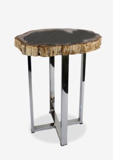 Uptown Organic Petrified Wood Table With Life Edge on Stainless Steel Base-Dark Color(14x14x21.75)