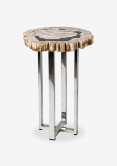 Uptown Organic Petrified Wood Table With Life Edge on Stainless Steel Base-Various Color(14x14x21.7