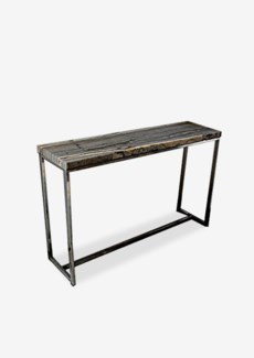 Uptown Organic Petrified Wood Console Table With Stainless Steel Base-Dark Color(46.5x13x29.5)