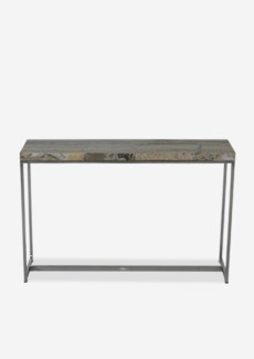Uptown Organic Petrified Wood Console Table With Stainless Steel Base-Light Color(46.5x13x29.5)