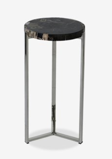 Uptown Organic Petrified Wood TableWith Life Edge on Stainless Steel Base-Tall(15.75x15.75x31.5)