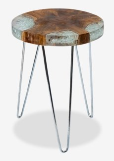 Organic Freeform Side Table Small in Icy Wood w/ Stainless (14X14X19)