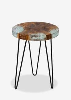 Organic Freeform Side Table Small in Icy Wood with Black Iron Legs(14X14X19)