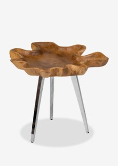 (SP) Allure freeform teakwood tray table with stainless steel base-Medium..(18x16x18)..