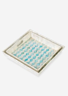 Square Capiz Tray-White and Sky Blue Color,Set of 2(18X18X3.2/16X16X2.8)