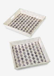 Square Capiz Tray-White and Purple Color,Set of 2(18X18X3.2/16X16X2.8)