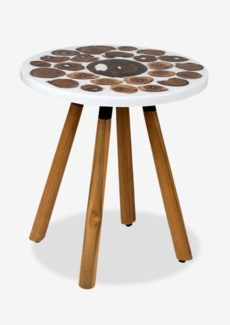 Queens Round pin leg side table with wood slice top and white resin(18X18X18.5)