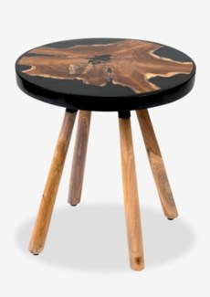 Queens Round pin leg side table with wood  design and Black resin(18X18X18.5)