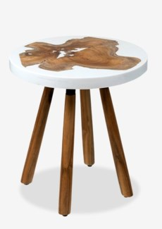 (LS) Queens Round pin leg side table with wood  design and White resin..(18X18X18.5)..