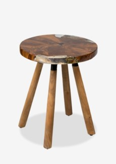 (SP) Queens Round icy wood side table with wood base..(16X16X18.5)..