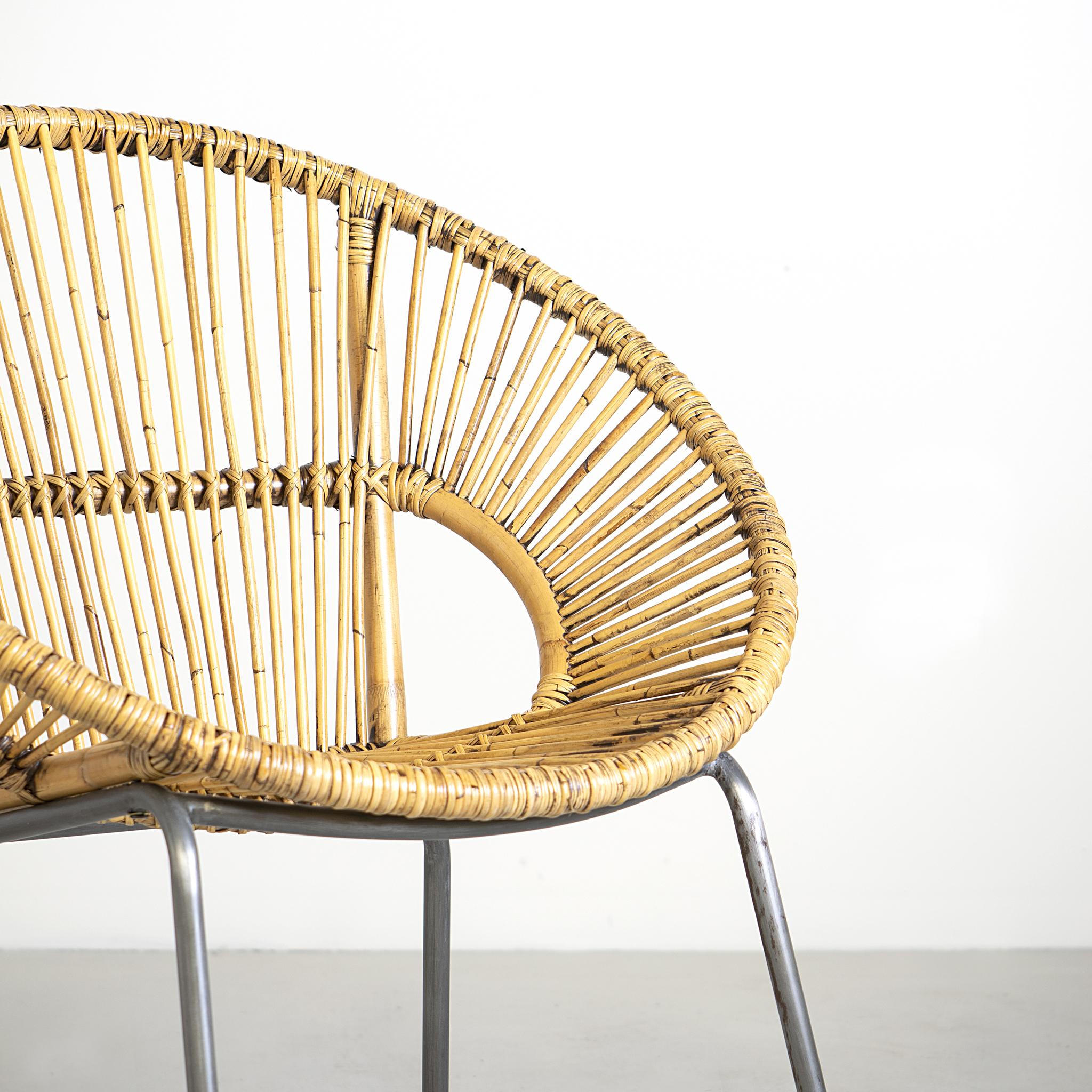 Round Rattan Chair W/ Metal Legs   K/D (31X27.8X31.