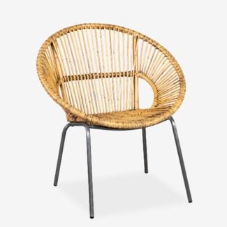 Round Rattan Chair w/ Metal Legs - K/D (31X27.8X31.8)